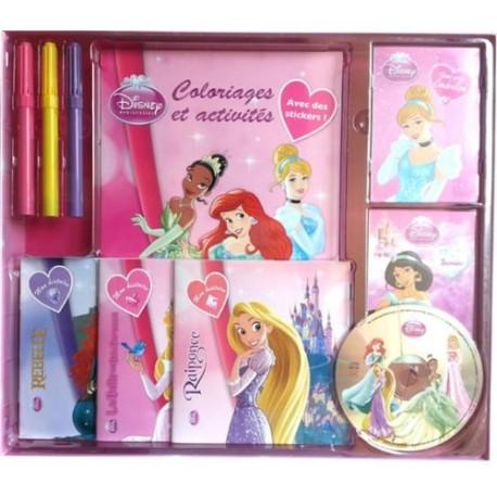 Coffret Disney Princesses - 1 livre coloriages et activités, 2 livrets de cartes, 3 livres d'histoire et 3 feutres (1CD audio)