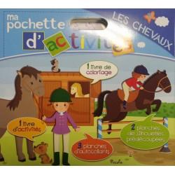 Ma pochette d'activités - Les chevaux - 1 coloriage et 1 d'activités, 2 planches de silhouettes, 3 planches d'autocollants
