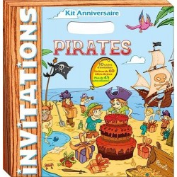 Kit anniversaire Pirates - 10 cartes d'invitation, 1 livre avec 60 idées de jeux, avec 50 autocollants !