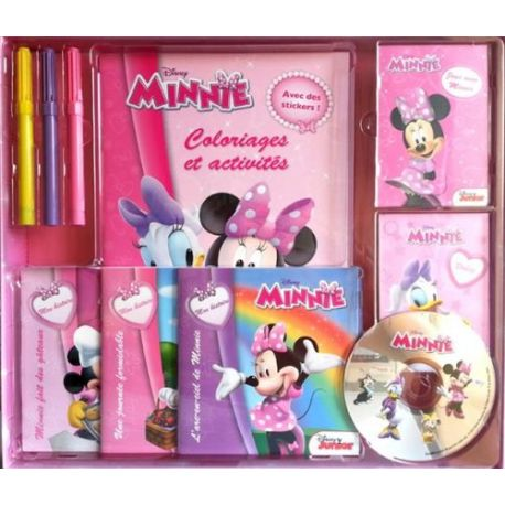 Coffret Minnie - 1 livre coloriages et activités, 2 livrets de cartes, 3 livres d'histoire, 1CD et 3 feutres