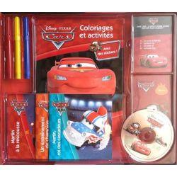 Coffret Cars - 1 livre coloriages et activités, 2 livrets de cartes, 3 livres d'histoire, 1CD et 3 feutres