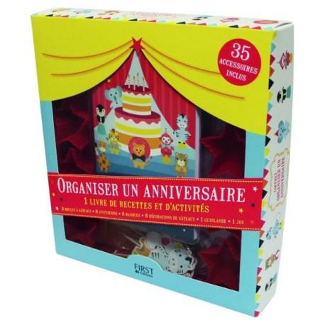 Organiser un anniversaire - 1 livre de recettes et d'activités - 8 moules à gâteaux, 8 invitations, 8 masques, 8 décorations de