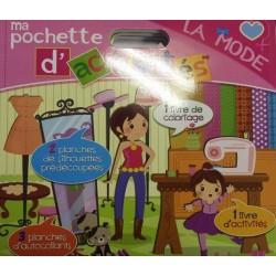 Ma pochette d'activités - La mode - 1 livre de coloriage et 1 d'activités, 2 planches de silhouettes, 3 planches d'autocollants