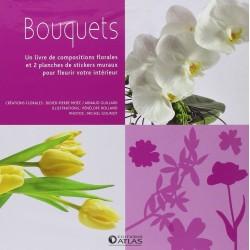 Bouquets - Un livre de compositions florales et 2 planches de stickers muraux