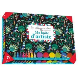 Les ateliers du calme - Ma boîte d'artiste - 8 feutres pailletés, 1 pinceau fin, 6 godets de peinture feutre, des coloriages