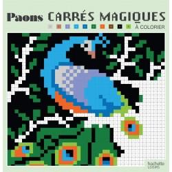 Carrés magiques - Paons - 40 modèles de coloriages mystères, façon pixels