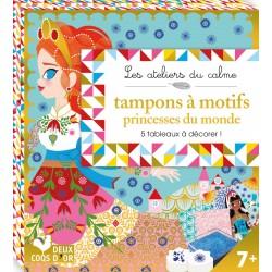 Les ateliers du calme - Tampons à motifs princesses du monde - 5 tableaux à décorer !