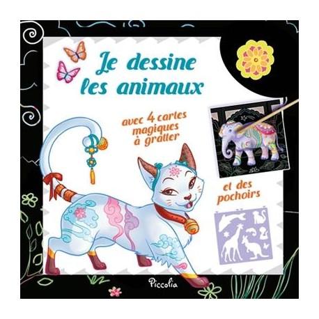 Je dessine les animaux - Chat - Avec 4 cartes magiques à gratter et des pochoirs