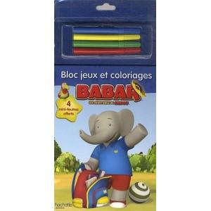 Babar - Les aventures de Badou - Blocs jeux et coloriages, 4 mini-feutres offerts